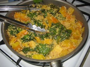 Sweet Yellow Beets and Greens with Couscous