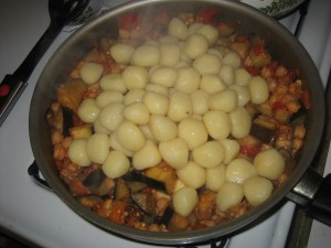 4 Ingredient Dish: Gnocci with Eggplant, Tomatoes and Chickpeas